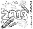Doodle style 2013 New Year illustration in vector format with retro fireworks celebration background - stock vector