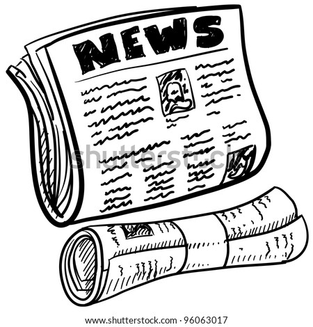 Doodle style newspaper illustration in vector format.  Includes folded and rolled paper with headline. - stock vector