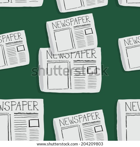 Doodle style newspaper illustration in vector format, PATTERN - stock vector