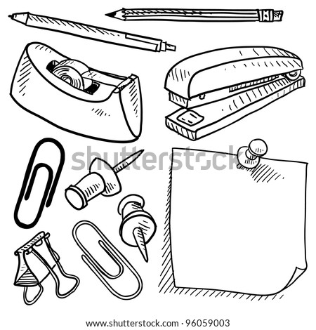 Doodle style office supplies illustration in vector format.  Set includes tape dispenser, pencil, pen, stapler, sticky note, stickpin, and paperclips. - stock vector