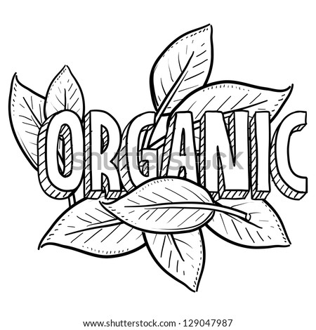 Doodle style organic food illustration in vector format.  Includes title text and natural leaves. - stock vector