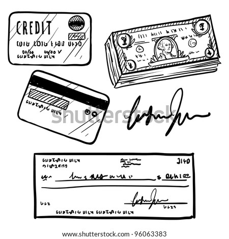 Doodle style personal finances item set in vector format.  Set includes cash, personal check, credit card, and signature. - stock vector
