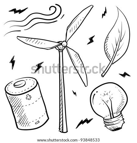 Doodle style renewable wind energy sketch in vector format. Set includes leaf, battery, light bulb, and windmill. - stock vector