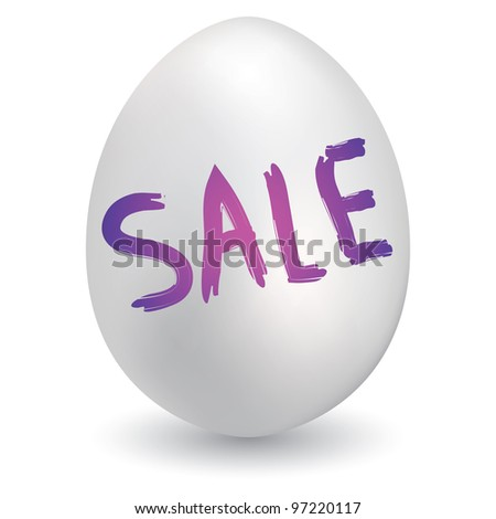 Doodle style retail sale sketch on decorated holiday Easter Egg in vector format - stock vector