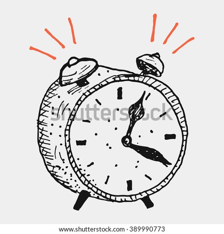 Doodle style retro alarm clock illustration - stock vector