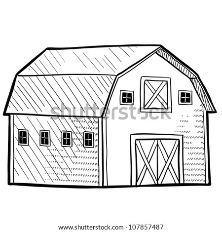 Doodle style retro barn from rural area sketch in vector format. - stock vector