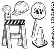 Doodle style road construction equipment sketch in vector format. Includes hardhat, sawhorse, caution warning, and slow sign. - stock vector