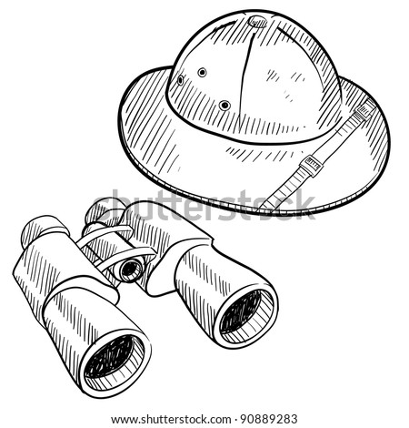 Doodle style safari gear in vector format including hat and binoculars - stock vector