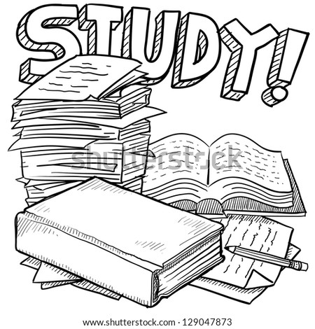 Doodle style school study illustration in vector format.  Includes title text, pile of papers, and books. - stock vector