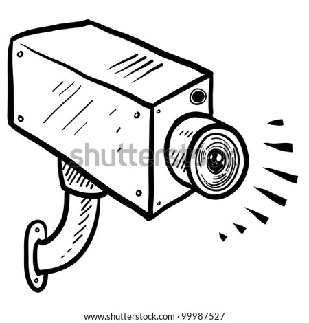 Doodle style security or surveillance camera in vector format - stock vector