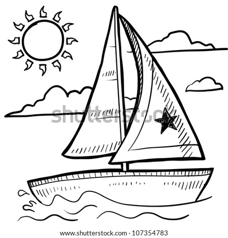 Doodle style sketch of a sailboat vacation in vector illustration. - stock vector