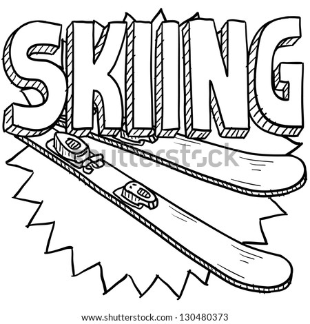 Doodle style snow skiing sports illustration.  Includes text and skis. - stock vector