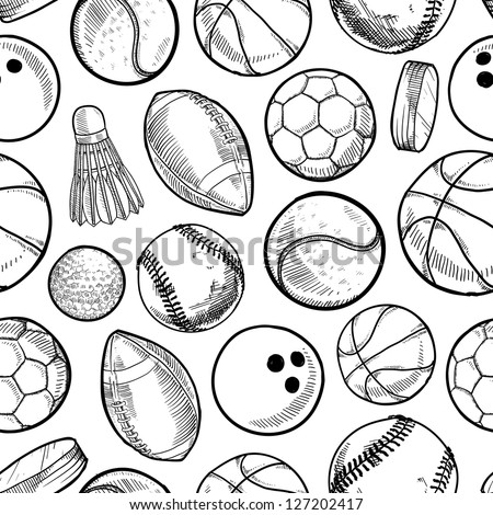 Doodle style sports equipment seamless vector background ready to be tiled. - stock vector