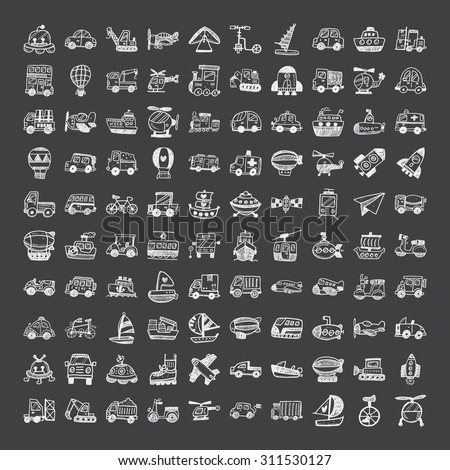 doodle style transport icons - stock vector