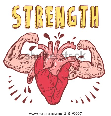 Doodle style vector drawing of a muscular heart announcing strength with hand drawn text. - stock vector
