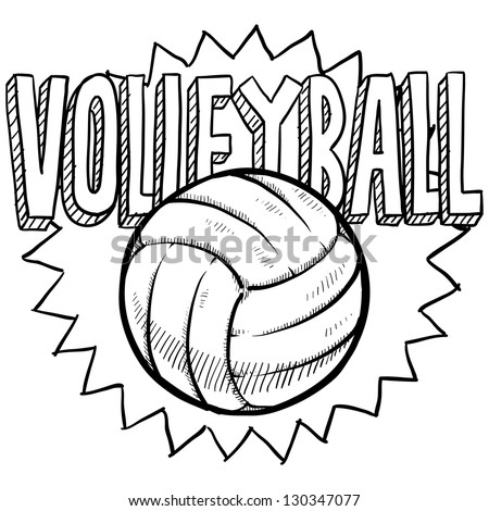 Doodle style volleyball illustration in vector format. Includes text and ball. - stock vector