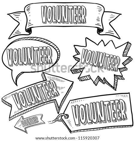 Doodle style Volunteer message tags, labels, banners and arrows in vector format. Can be used as an overlay, as background, or for a sticker effect on web or print materials. - stock vector