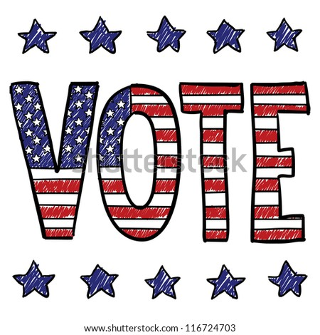 Doodle style Vote in the election message sketch overlaid with the American flag in vector format. - stock vector