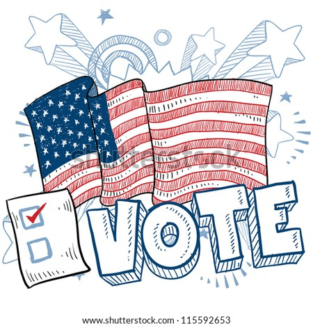 Doodle style vote in the election with american flag and check box illustration in vector format. - stock vector