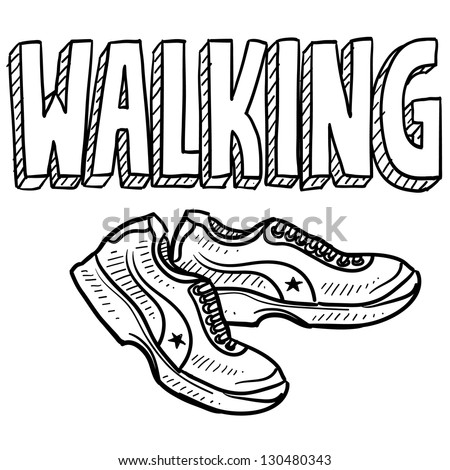 Doodle style walking sports illustration.  Includes text and tennis shoes. - stock vector