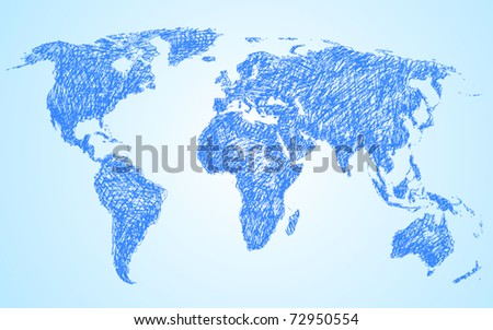 Doodle style world map - stock vector