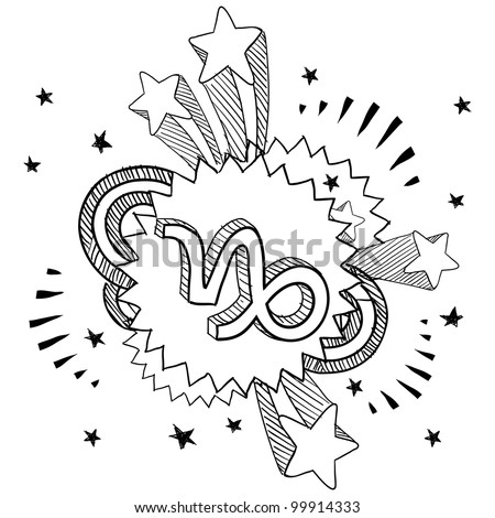 Doodle style zodiac astrology symbol on 1960s or 1970s pop explosion background - Capricorn - stock vector