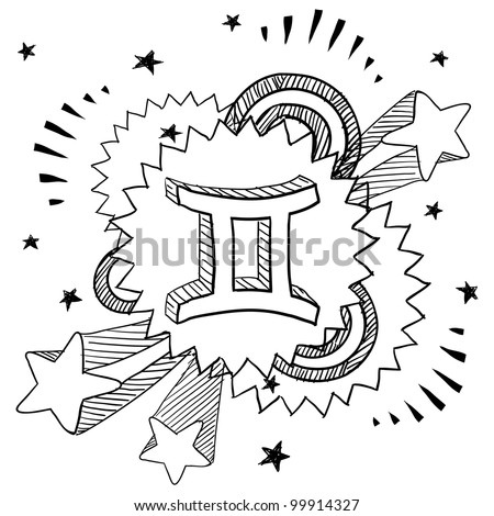 Doodle style zodiac astrology symbol on 1960s or 1970s pop explosion background - Gemini - stock vector