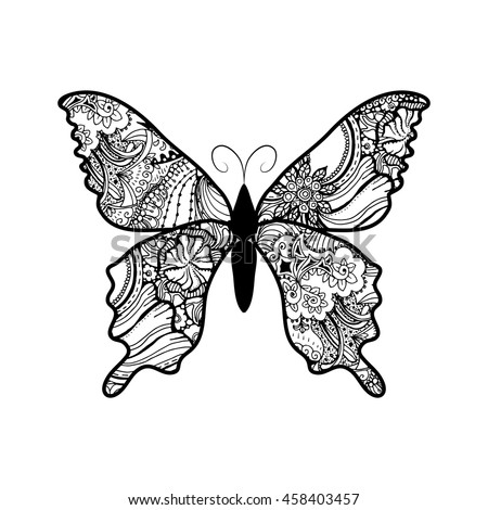 Doodle stylized black Butterfly. Hand Drawn vector illustration isolated on white background. Sketch for tattoo or makhenda. - stock vector