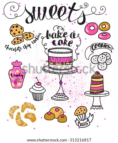 Doodle Sweets - Cartoon style illustration of different sweets, including cakes, donuts, chocolate chip cookies, candies and croissants. Hand drawn illustration  - stock vector