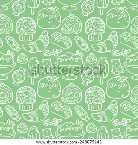 doodle sweets pattern. Vector doodle seamless pattern with sweets for wallpaper, web page background, surface textures, textile, scrap book, design fabric, menu - stock vector
