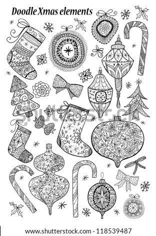 Doodle textured Christmas elements. - stock vector