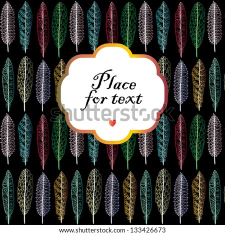 Doodle textured feathers background with a frame. - stock vector