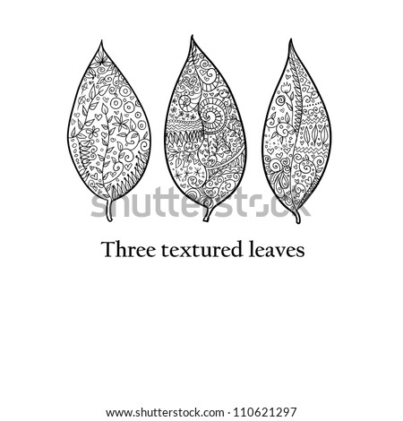 Doodle textured leaves background - stock vector