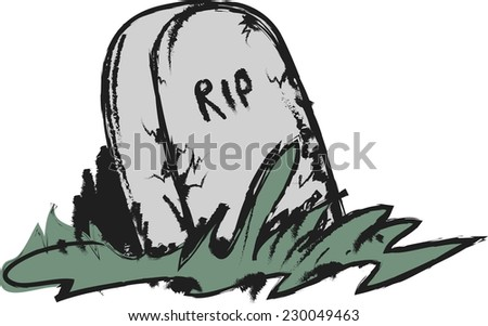 doodle tombstone with RIP - stock vector