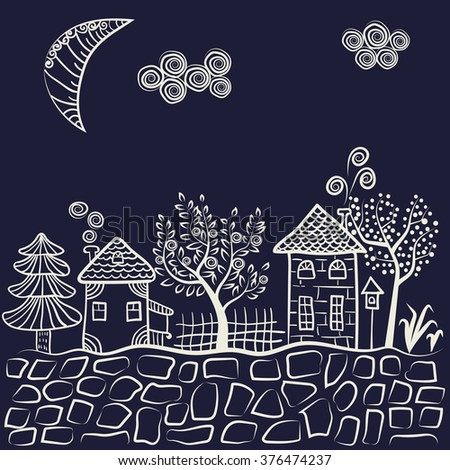 Doodle town houses and trees. Night village landscape. vector illustration.  - stock vector