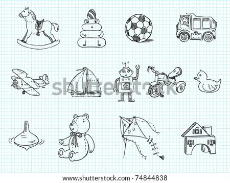 doodle toys - stock vector