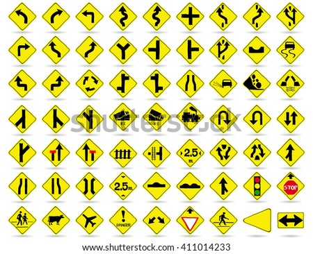 Doodle Traffic Signs, Vector Illustration EPS 10. - stock vector