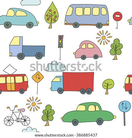 Doodle transport seamless pattern - stock vector