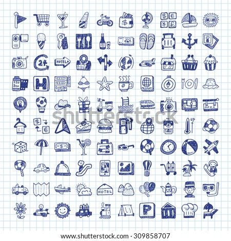 doodle travel icons - stock vector
