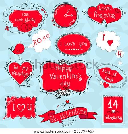 Doodle Valentine frames - stock vector