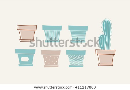 Doodle vases and flower design - stock vector