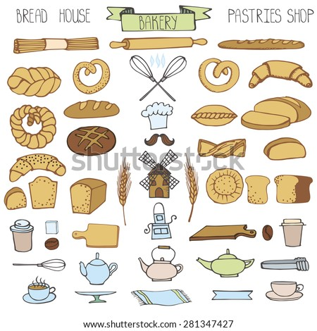Doodle vector.Bakery,bread,pastries utensils icons set.Colored vintage elements for logo,label,menu,cafe shop. Flat hand drawn isolated items. - stock vector