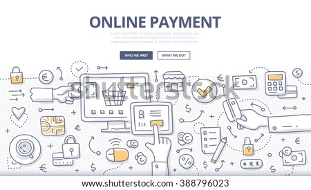 Doodle vector concept illustration of making online payment via internet services. E-commerce concept for web banners, hero images, printed materials - stock vector