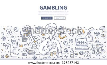 Doodle vector illustration of gambler playing poker cards. Concept of gambling, playing poker, online casino, roulette for web banners, hero images, printed materials - stock vector