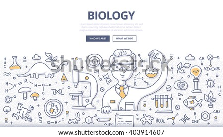 Doodle vector illustration of scientist experimenting in a lab. Biology and biotechnology doodle concept for web banners, hero images, printed materials - stock vector