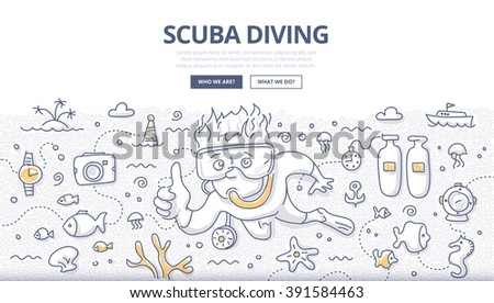 Doodle vector illustration of scuba diving, snorkeling, underwater world and equipment. Concept of undersea adventure for web banners, hero images, printed materials - stock vector