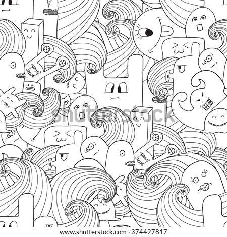 Doodle vector seamless pattern with monsters. Funny monsters graffiti. can be used for backgrounds, t-shirts.Coloring pages for adults Coloring book for adults - stock vector