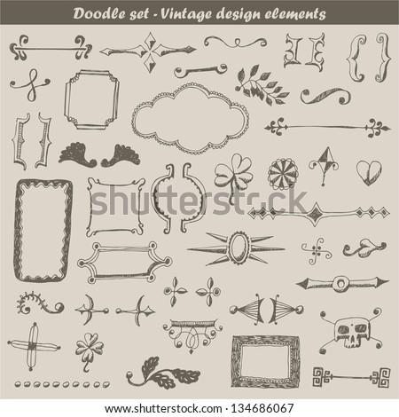 Doodle vintage set - stock vector