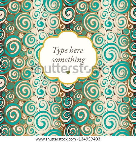 Doodle waves background with a frame. - stock vector
