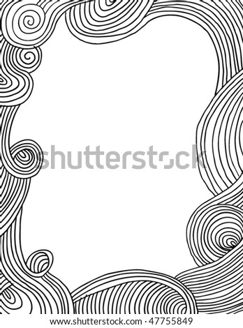 Doodle waves frame - stock vector